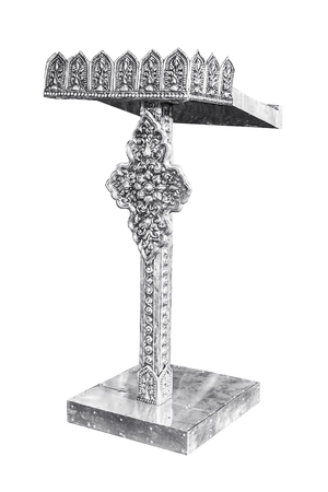 rostrum: Silver Podium Rostrum Stand thai style Isolated on White Background, with clipping path.