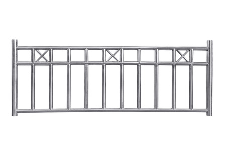 engineering design: Stainless steel railing isolated on white, with clipping path.