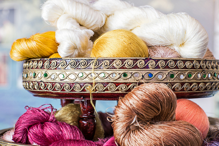 silk thread: Group of Raw silk thread color for background.