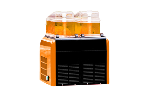 refreshments: Sweet Water Drink Dispensers with Orange Color Refreshments, on white background work with clipping path. Stock Photo