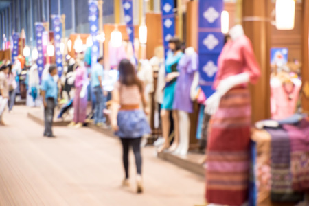 social gathering: Abstract people walking in exhibition blurred defocusing background, Concept of business social gathering for meeting exchange. Stock Photo