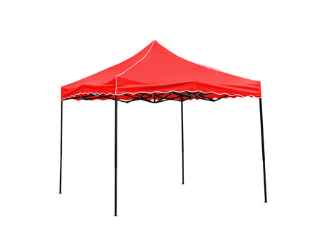 Pop Up gazebo, Red rain tent on white background,Work with clipping path.