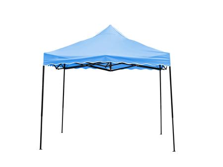 ガゼボ ポップアップ、白い背景に、クリッピング パスとの仕事上の青い雨テント。