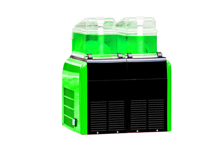 refreshments: Sweet Water Drink Dispensers with Green Color Refreshments, on white background work with clipping path.