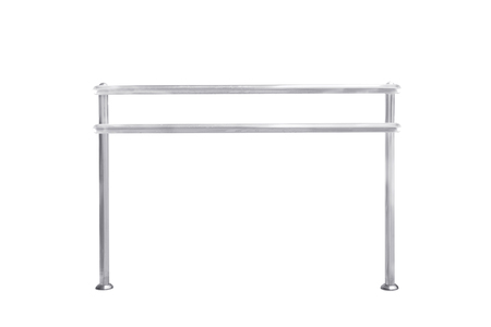 Stainless steel railing isolated on white