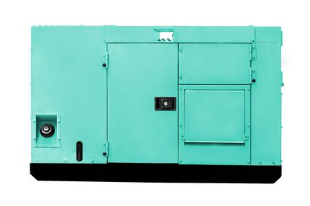immovable: Industrial diesel power generator on white background, work with clipping path. Stock Photo