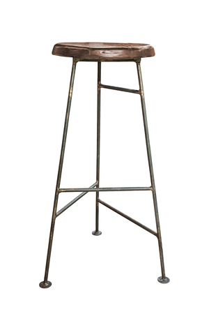 Wooden with steel legs simplistic bar chair on white background, work with path.
