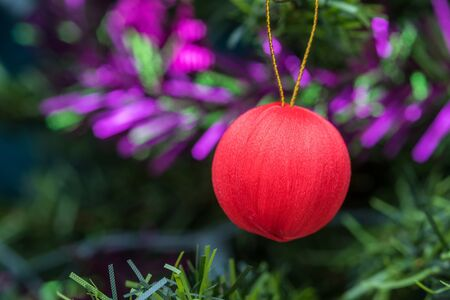 rad: Rad ball decorations on christmas tree, Select the focus. Stock Photo