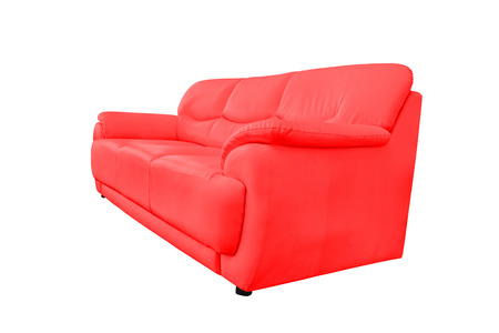 red sofa: Red leather sofa isolated on white background