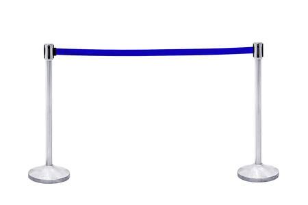 rope barrier: Stainless steel blue rope barrier block entrance isolated on white background, with clipping path.