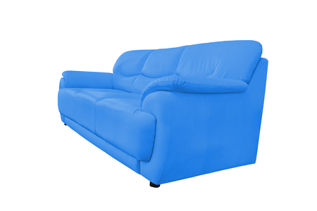 blue leather sofa: Blue leather sofa isolated on white background, with clipping path.