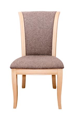silla de madera: Silla de madera con cojín de tela aislado en blanco.