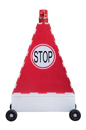 red siren: Stop sign on triangle light box on scroll wheel with red siren light on top.