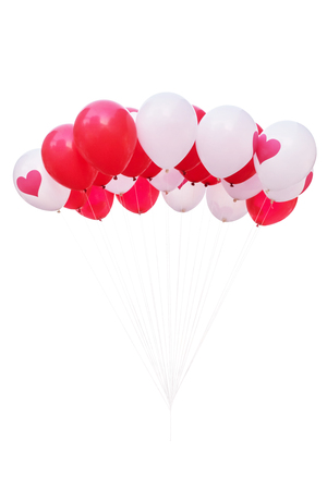 flotation: Red and white balloons isolated on white background with clipping path