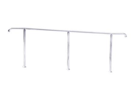 tilt: Stainless steel railing isolated on white degree tilt, with clipping path. Stock Photo