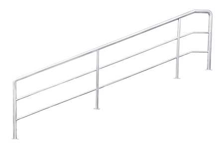 hand rails: Stainless steel staircase railing isolated on white, with clipping path. Stock Photo