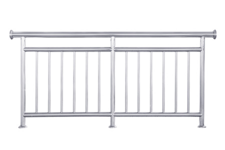 metal handrail: Stainless steel railing isolated on white, with clipping path.