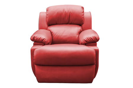 view of an elegant red couch: Red leather armchair isolated on white background, with clipping path.
