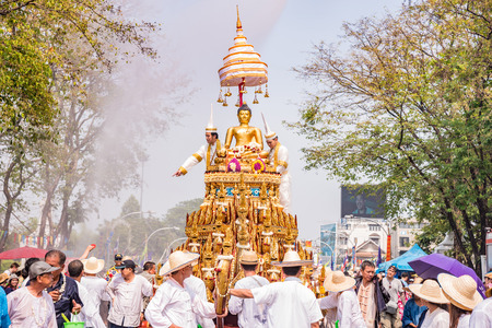 marched: CHIANG MAI THAILAND-APRIL 13:Chiang mai Songkran festival.The tradition of bathing the Buddha Phra Singh marched on an annual basis. With respect to faith.on April 13,2016 in Chiang mai,Thailand.