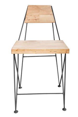 simplistic: Wooden chair with steel legs simplistic on white background