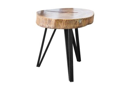 simplistic: Wooden table with steel legs simplistic on white background