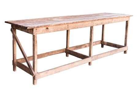 simplistic: Old simplistic wooden table on white background, work with path.