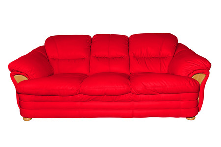view of an elegant red couch: Red luxury leather sofa isolated on white background