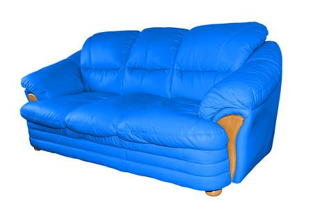 blue leather sofa: Blue luxury leather sofa isolated on white background