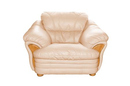 Cream luxury leather sofa isolated on white background