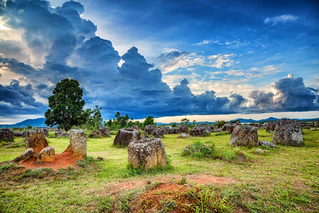 Plain of Jars is a megalithic archaeological landscape. Xieng Khouang Province, Laos.
