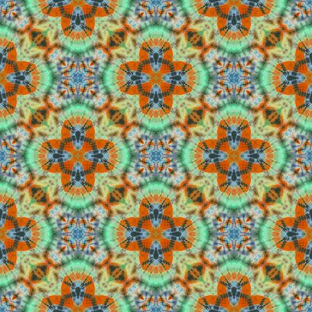 Abstract kaleidoscope or endless pattern made from tie dye fabric for background used.