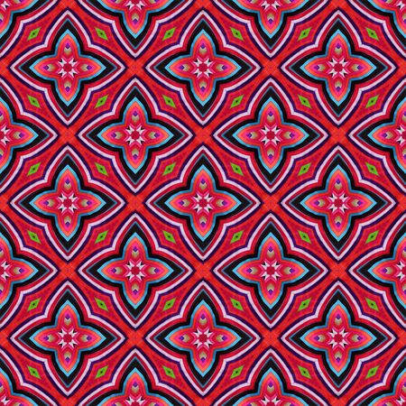 Colorful abstract kaleidoscope or endless pattern made from fabric for background used.
