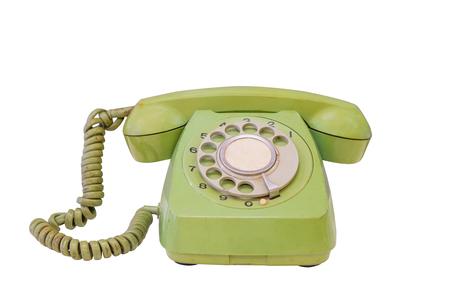 Groene retro telefoon die op witte achtergrond, het werk met clippimgweg wordt geïsoleerd.