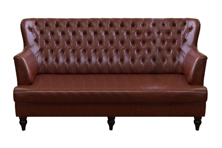 Brown luxury leather sofa isolated on white background, with clipping path.