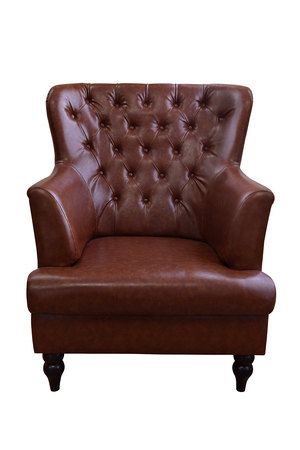 Brown leather armchair isolated on white background,