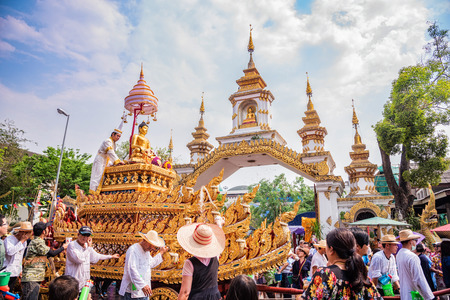CHIANG MAI THAILAND-APRIL 13:Chiang mai Songkran festival.The tradition of bathing the Buddha Phra Singh marched on an annual basis. With respect to faith.on April 13,2016 in Chiang mai,Thailand.