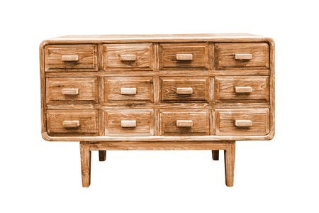 antique furniture: Wooden drawers cabinet isolated on white background, work with clipping path.