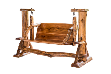 sway: Wooden swing bench isolated on white background with clipping path. Stock Photo