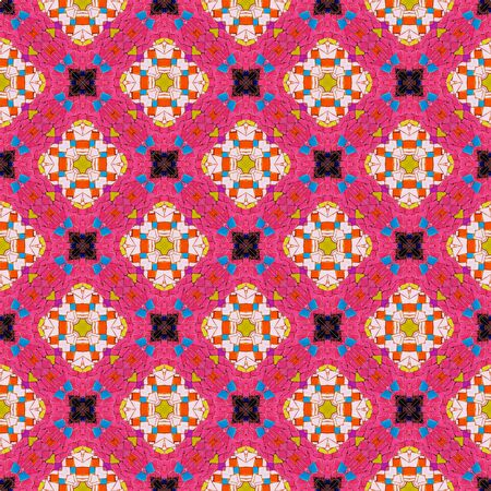 mirroring: Colorful abstract kaleidoscope or endless pattern mosaic from broken tile and stone decorating on the wall for background. Stock Photo