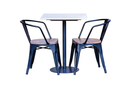 work path: Dining table and chair with steel legs isolated on white background, work with clipping path.