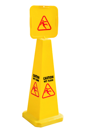 Wet floor warning sign, Yellow Caution slippery wet floor sign isolated on white background, work with clipping path. Banque d'images