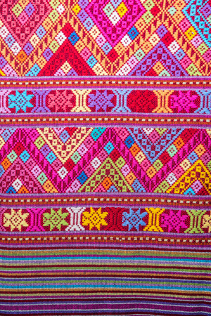 Closeup vintage cotton fabric texture background, Thai style Stock Photo