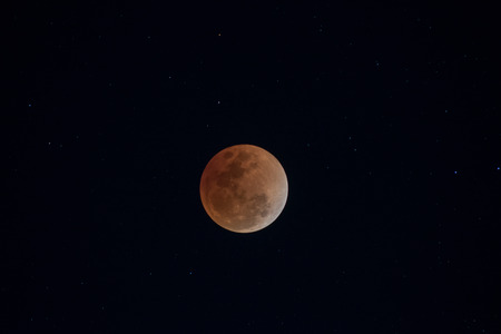 Super blood blue moon. Total lunar eclipse the moon into a bloody red of January 31, 2018 as seen in Chiang mai,Thailand.