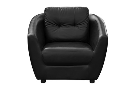 Black leather armchair isolated on white background