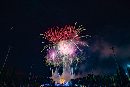 Beautiful firework night scene of new year countdown in Chiang mai Thailand