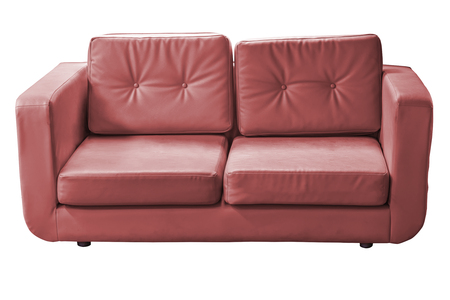 Vintage leather sofa isolated on white background Stock Photo