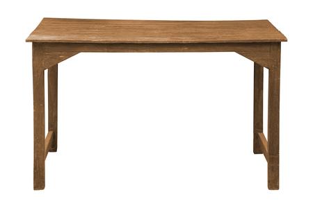Vieille table en bois isolée sur fond blanc, fonctionne avec un tracé de détourage.