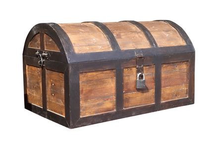 Vintage wooden chest with key lock isolated on white background, Work with clipping path.