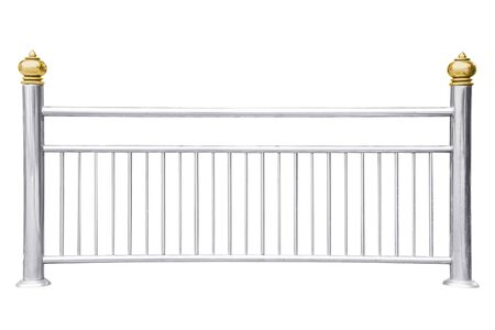 Stainless steel railing isolated on white Archivio Fotografico