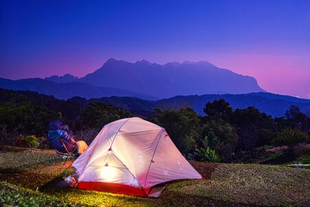 Tourist tent on the hill at San Pa Kia, Doi Mae Ta Man viewpoint located in Chiang Dao district, Chiang mai province, Thailand.